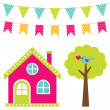 Cute house and tree set — Stock Vector #77294166