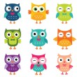 Isolated cartoon owls collection — Stockvektor  #81458184