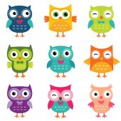 Isolated cartoon owls collection — Stock Vector