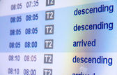 Flight arrival board in airport — Stock Photo