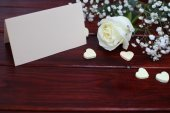 White rose and card — Stock Photo