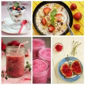Strawberry collage — Stockfoto