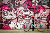Mural with blue bike  — Stock Photo
