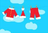 Santa claus clothes on the clothesline — Stockvektor
