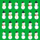 Snowmen on green — Stock Vector