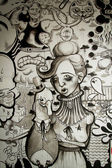 Mural in black and white — Stock Photo