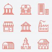 Set of house icons, thin line style, flat design — Stock Vector
