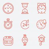 Time and clock icons, flat design, thin line style — Stock Vector