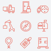 Logistic icons, thin line style, flat design — Stock Vector