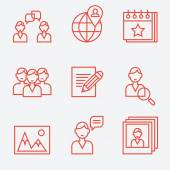 Social media icons, thin line style, flat design — Stock Vector