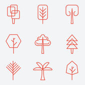 Tree icons, flat design, thin line style — Stock Vector