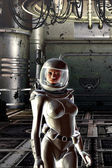 Girl in spacesuit — Stock Photo