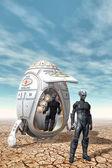 Alien Explorores with spaceship — Stock Photo