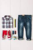 Overhead of essentials casual boy. — Stock Photo