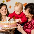 Baby celebrating first birthday — Stock Photo #62770637