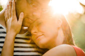 Young couple in love hugging — Stock Photo
