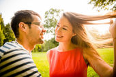 Young couple dating in nature — Stock Photo