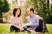 Dating couple - talking togethe — Stock Photo