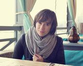 Beautiful girl in the street cafe — Foto Stock