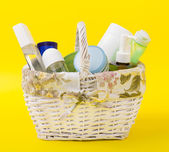 Beauty products basket — Stock Photo