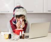 Woman with flu — Stock Photo