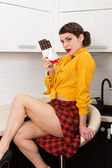 Beautiful woman with chocolate bar — Stock Photo