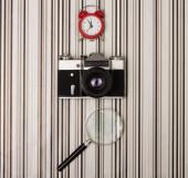 Camera on stripy background — Fotografia Stock