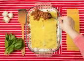 Cooking lasagna — Stock Photo