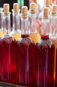 Bottles of home made wine — Stock Photo