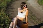 Beautiful girl on a road — Stock Photo