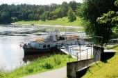 Ship in the Nemunas river Druskininkai city pier — Stock Photo