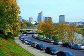Vilnius city street, cars and skyscrapers view — ストック写真