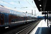 Limburg city railway station sunny day view — Stock Photo
