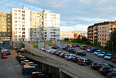 Vilnius city evening view - Pasilaiciai district house and car parking — Стоковое фото