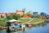 Vilnius city ship restaurant in the Neris river — Stock Photo