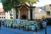 Vilnius city paintings sellers on September 24, 2014 — Stock Photo