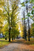 Walking in the park of Cathedral square in Vilnius city — Stock Photo