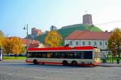 Trolley in Vilnius city street on October 12, 2014 — Stockfoto