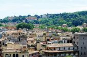 Rome city aerial view from San Angelo castle — Stock Photo