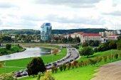 Vilnius city panorama with river Neris on September 24, 2014 — Fotografia Stock