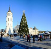 Vilnius city capital of Lithuania cathedral place view — Stock Photo