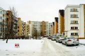 Winter in capital of Lithuania Vilnius city Pasilaiciai district — Stock Photo