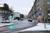Vilnius City White Winter Morning Time Panorama — Stock Photo