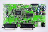 Verde de circuitos impresos con piezas de radio — Foto de Stock