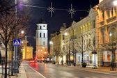 Vilnius City Night Winter Panorama in Ligts — Stock Photo