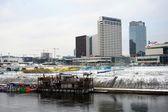 Panorama di inverno di Vilnius con i grattacieli a bordo fiume Neris — Foto Stock