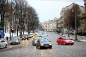 Vista en Vilnius ciudad final de la mañana tiempo de invierno — Foto de Stock