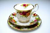 Legendary china porcelain tea set Country Roses in private colection — Stock Photo