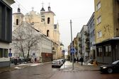 Vilnius old city center winter street view — Stock Photo