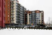 Winter in capital of Lithuania Vilnius city Bajoru hills district — Foto de Stock